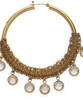 ABS Gold Wrapped Crystal Hoop Earrings