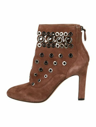 Alaia Suede Cutout Accent Boots Brown