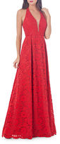 JS Collections Halter Floral Lace Gown
