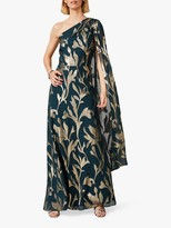 Phase Eight Collection 8 Kiara Drape Floral Maxi Dress, Forest/Gold