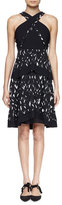 Proenza Schouler Crisscross Halter-Neck Tiered Dress, Black/White Feather