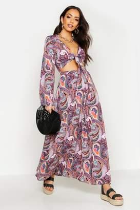 boohoo Woven Paisley Cut Out Maxi Dress
