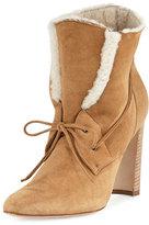 Manolo Blahnik Ostrava Shearling 105mm Ankle Boot, Camel