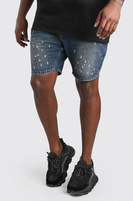 boohoo Mens Grey Big & Tall Slim Fit Denim Paint Splatter Short, Grey