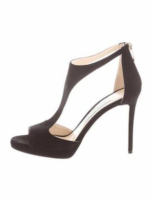 Jimmy Choo Suede T-Strap Sandals Black