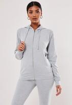 Missguided Petite Grey Co Ord Stripe Zip Through Hoodie