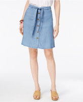 Style&Co. Style & Co Petite Belted Button-Front Denim Skirt, Only At Macy's
