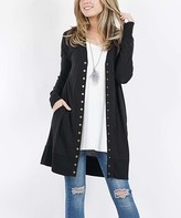 Lydiane Women's Open Cardigans BLACK - Black Long-Sleeve Snap-Button Cardigan - Women