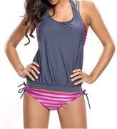 Min Qiao Women's Push Up Stripes Print Halter 3 Piece Tankini Swimsuit Set Bikini Swimwear