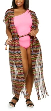 Becca Etc Plus Size Carnavale Crochet Duster Cover Up Women's Swimsuit