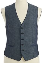 John Varvatos Mens Eclipse Luxe Piped V Neck Button Front Vest