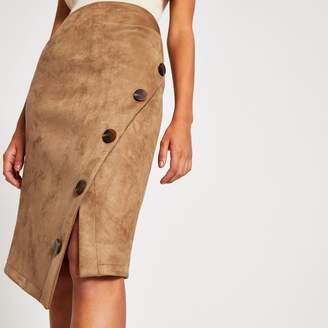 River Island Womens Tan faux suede wrap button midi pencil skirt