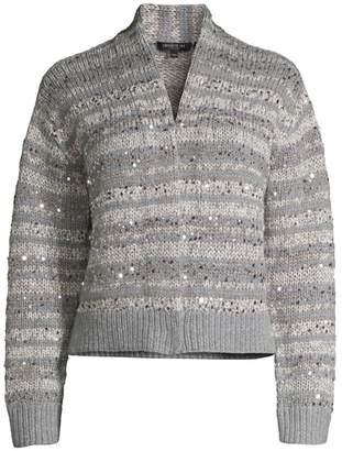 Lafayette 148 New York Hand-Knit Sequin Cardigan