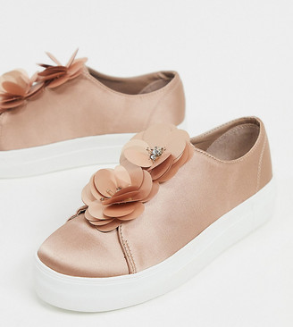Simply Be wide fit flower sneakers in pink