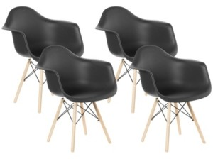 Bold Tones Mid-Century Modern Style Plastic Shell Dining Arm Chair with Wooden Dowel Eiffel Legs, Set of 4