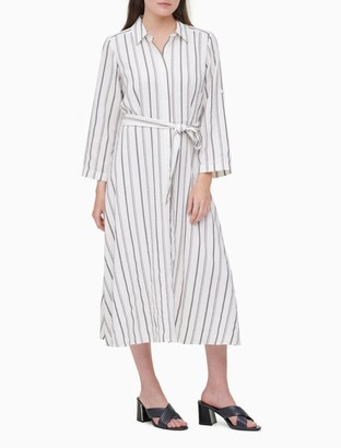 Calvin Klein Striped Button-Down Roll-Sleeve Belted Shirt Dress