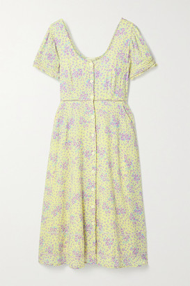 LoveShackFancy Regina Crochet And Rickrack-trimmed Floral-print Cotton-voile Midi Dress - Pastel yellow