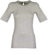 Brunello Cucinelli Short Sleeve T-shirt Stretch Cotton Ribbed Jersey T-shirt With Shiny Tulle Insert
