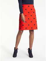 Boden Fenella Embroidered Skirt, Post Box Red/Black