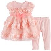 Nannette Baby Girl Rosette Dress & Leggings Set
