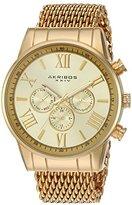 Akribos XXIV Men's AK919YG Analog Swiss Quartz Gold Watch