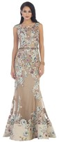 May Queen Sleeveless with Floral Applique Embellished Sheath Dress