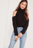 Missguided Turtle Neck Cold Shoulder Sweater Black
