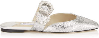 Jimmy Choo GEE FLAT Silver Galactica Glitter Flat Sandal with Jewelled Buckle