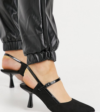 ASOS DESIGN Wide Fit Sapphire pointed Mary Jane mid-heels in black