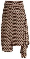 Marni Portrait-print Asymmetric Silk Skirt