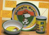 Peanuts Beagle Scout 3 Piece Kid's Serving Dish Set by