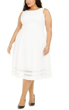 Calvin Klein Plus Size Illusion Fit & Flare Dress