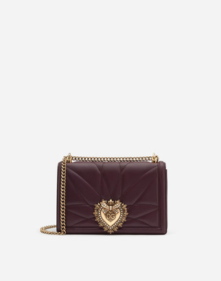 Dolce & Gabbana Large Devotion Side Bag In Matelasse Nappa Leather