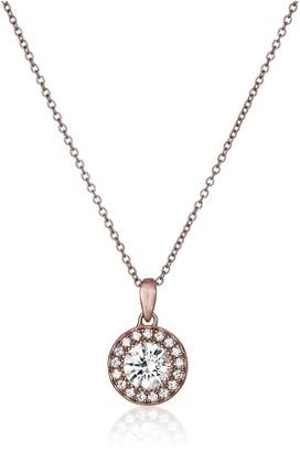 Swarovski La Lumiere Rose-Gold-Plated Sterling Silver Zirconia Round-Cut Halo Pendant Necklace 40.54cm