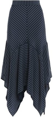 Ganni Total Eclipse Pinstriped Silk-blend Seersucker Midi Skirt