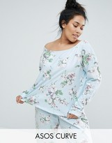 Asos Lounge Pretty Floral Off Shoulder Sweat Top