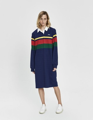 Stussy Women's Rosewood Rugby Dress in Navy, Size Large   100% Cotton