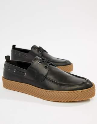 Asos Design DESIGN boat shoes in black with gum sole