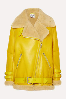 Acne Studios Velocite Shearling-trimmed Leather Biker Jacket - Yellow
