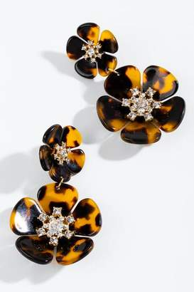 francesca's Alana Tortoise Flower Statement Earrings - Tortoise