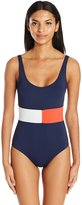 Tommy Hilfiger Women's Retro Flag Color Block One Piece Swimsuit with Low Back