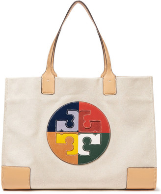 Tory Burch Leather-trimmed Appliqued Cotton-blend Canvas Tote