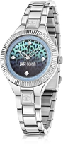 Just Cavalli Just Indie Silver Tone Stainless Steel Women's Watch w/Animal Print Dial