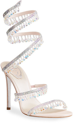Rene Caovilla Chandelier Snake Beaded Leather Crystal Ankle-Wrap Sandals