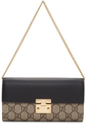 Gucci Beige and Black Padlock GG Wallet Bag