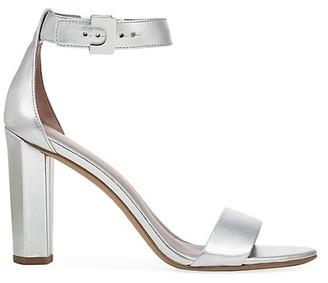 Diane von Furstenberg Chainlink Ankle-Strap Metallic Leather Sandals