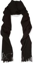 Acne Studios Canada Narrow Fringed Wool Scarf - Black