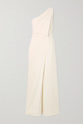 Halston One-shoulder Draped Crepe Jumpsuit - White