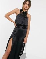 Asos Design DESIGN high shine satin cross over drape top two-piece