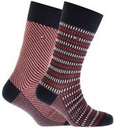 Tommy Hilfiger 2 Pack Three Tone Socks Red